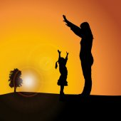 Vector silhouette of family on nature sunset background