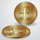 Vector illustration of golden coins with GBP pound currency sign