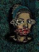 Žena s rozmnožený oči a rty