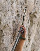 Climber with rope and quick-draw