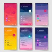 Modern flat user interface screen template for mobile smart phone or web site Transparent blurred material design ui with icons