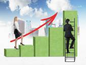 A woman in formal clothes is going up through a green bar chart, while a man has found a shortcut how to reach the final point of the bar chart. Sketch of New York and cloudy sky on background.