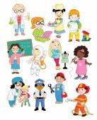 A set of illustrations depicting younger kids doing different professions