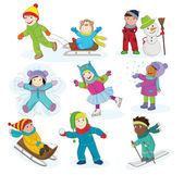 A collection of vector illustration of happy kids playing in snow and having winter fun There is another version of this illustration with the outlines only for a coloring book