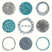 Hand drawn circle banners Scribble Shapes Vector illustration
