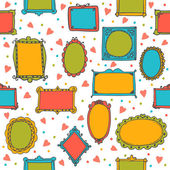 Seamless pattern with hand drawn sketchy doodle frames Cute background with decorative elements Vector illustration