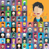 Set of people icons in flat style with faces Vector women men character