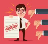 Odmítnuté dokument a nechuť ruce. Ploché kreslené vektorové ilustrace