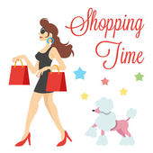 Elegantní roztomilé ženy s nákupní tašky a pudl vektorové ilustrace