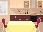 Vector kitchen flat illustration