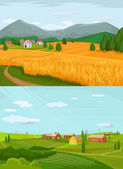 Vector village flat illustration set