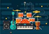 Hudební nástroje. Plochá vektorové ilustrace