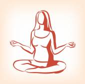 Woman sitting in yoga lotus position Vector icon illustration