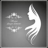 Illustrazione di vettore della siluetta della donna con bei capelli
