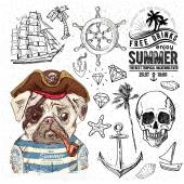Pirates set Hand drawn illustrations eps10 vector