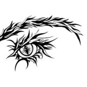 Human Eye Sign - Vector Graphic Illustration in Black and White Color