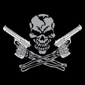 Vector smiling skull with guns for tattoo design on black background
