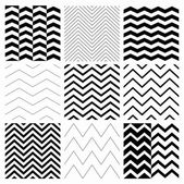 Set of Nine Black and White Abstract Geometric Zigzag Seamless Patterns with Pattern Swatches Transparent Background Vector Illustration
