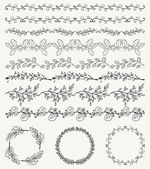 Collection of Black Artistic Seamless Hand Sketched Decorative Doodle Vintage Borders and Frames Design Elements Hand Drawn Vector Illustration Pattern Brashes