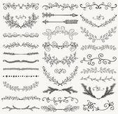 Set of Hand Drawn Black Doodle Design Elements Decorative Floral Dividers Arrows Swirls Laurels and Branches Vintage Vector Illustration Pattern Brashes