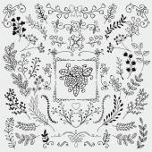 Vector Black Hand Sketched Rustic Floral Doodle Branches Design Elements Decorative Floral Frames Dividers Branches Swirls Hand Drawing Vector Illustration Pattern Brushes