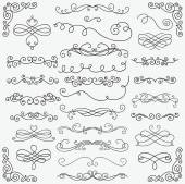 Set of Black Hand Drawn Rustic Doodle Design Elements Decorative Swirls Scrolls Text Frames Dividers Corners Vintage Vector Illustration Pattern Brushes