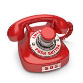 Červený telefon s tlačítko nouzového