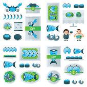 čerstvé mořské plody infographic modrá, zelená barva