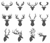 Sada hlavy silueta jelena na bílém pozadí