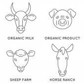Farm animals logo collection.