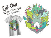 Tee shirt design- abstract vector Owl illustration with doodle particles