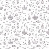 Cute cartoon hand drawn picnic seamless pattern Vector food clip art Vector tile illustration for your fabric textile design wrapping paper wallpaper