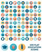 Sada 100 ploché styl vzdělávání ikon