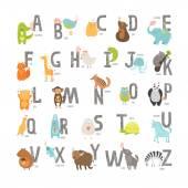 Cute vector zoo alphabet with cartoon animals isolated on white background Grunge letters cat dog turtle elephant panda alligatorlion zebra