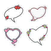 Valentine's day cartoon elements set speech bubbles flowers and hearts Vector