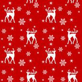 Seamless Christmas pattern with reindeers on red background