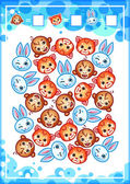 Education counting game for preschool kids with funny animals How many hares monkeys and red pandas do you see? Cartoon vector illustration