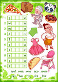 Education rebus game for preschool kids Find the correct part of words Cartoon vector illustration