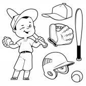 Cartoon boy playing baseball Baseball equipment Vector clip art illustration on a white background
