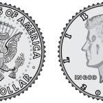 Постер, плакат: Metal coins half dollar