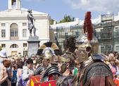 Pavlovsk, Rusko - 18 července 2015: Fotografie Macedonica Legio V klubu vojenské historie bojovníků