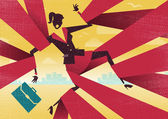 Great illustration of Retro styled Abstract Businesswoman caught up in bureaucratic red tape