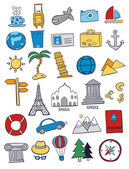 Set of bright travel doodles on white background