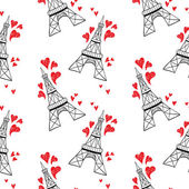 Black Eiffel towers with red hearts against white seamless background
