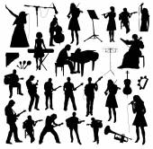 Black musicians Silhouettes on white background
