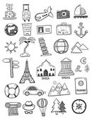 Set of black travel doodles on white background