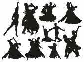 Black dancing pairs silhouettes on white background