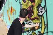 Salonicco, Grecia 15 giugno 2015: graffiti di pittori nel corso del festival di arte di strada di Salonicco