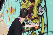 Maler-Graffiti im Laufe des street-Art Festival thess
