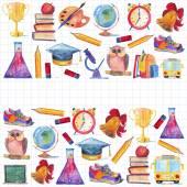 Zpátky do školy akvarel ručně kreslenou sada s prvky vzdělávání